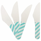 Biodegradable Paper Cutlery Utensil Striped Seafoam Knife 12pcs