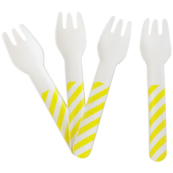 Biodegradable Paper Cutlery Utensil Striped Yellow Fork 12pcs