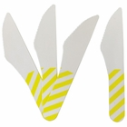 Biodegradable Paper Cutlery Utensil Striped Yellow Knife 12pcs