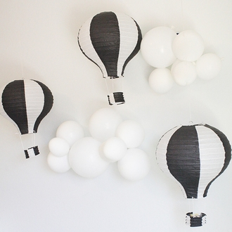 Black and White Hot Air Balloon Paper Lantern 12in