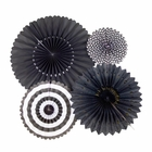 Black and White Tissue Fans and Pinwheel Decorating Kit
