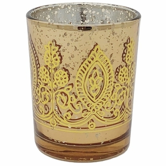 "Boho Henna Mercury Glass Votive Candle Holder 2.75"" Gold"