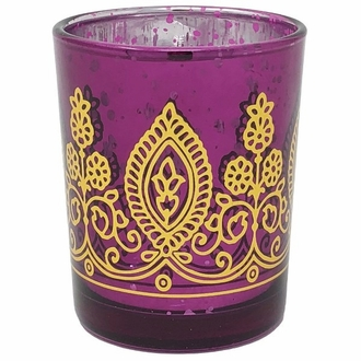 "Boho Henna Mercury Glass Votive Candle Holder 2.75"" Raspberry"