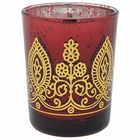 "Boho Henna Mercury Glass Votive Candle Holder 2.75"" Ruby"
