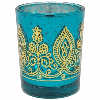 "Boho Henna Mercury Glass Votive Candle Holder 2.75"" Teal"