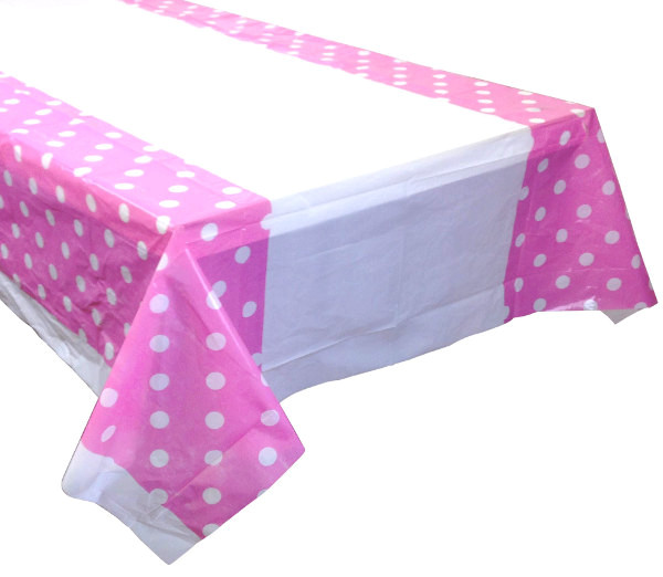 CLEARANCE Bubblegum Polka Dot Plastic Tablecloth