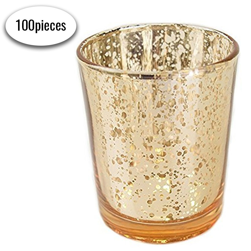 "Bulk Mercury Glass Votive Candle Holder 2.75""H (100pcs, Speckled Gold)"