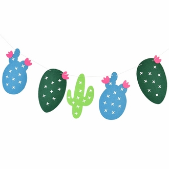 Cactus Theme Felt Garland Kit with LED Lights