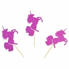 Cake Topper Kit Fuchsia Magical Glitter Unicorns 50pcs