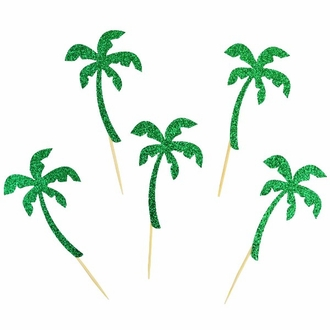 Cake Topper Kit Glitter Green Palm Trees 50pcs