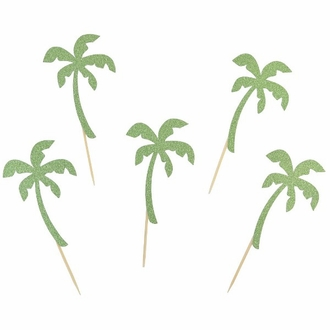 Cake Topper Kit Glitter Light Green Palm Trees 50pcs