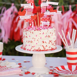 CLEARANCE CAKE TOPPER KIT GLITTER RED HEARTS 6PCS
