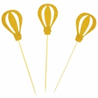 Cake Topper Kit Gold Hot Air Balloons 3pcs