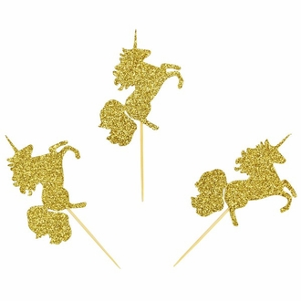 Cake Topper Kit Gold Magical Glitter Unicorns 50pcs