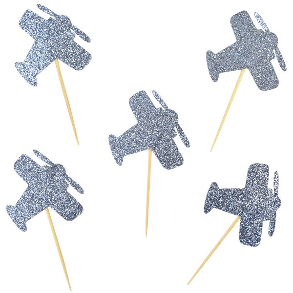 Cake Topper Kit Light Blue Glitter Airplanes 20pcs