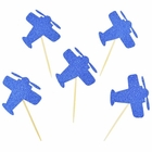 Cake Topper Kit Royal Blue Glitter Airplanes 20pcs