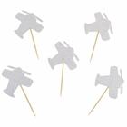 Cake Topper Kit Silver Glitter Airplanes 20pcs