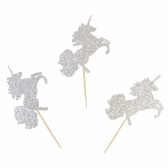 Cake Topper Kit Silver Magical Glitter Unicorns 50pcs
