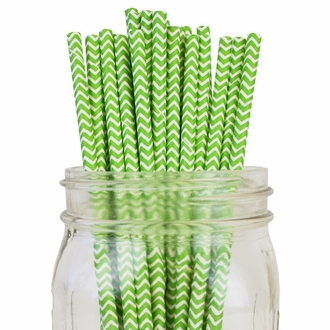 Chevron Striped Paper Straws 25pcs Green Apple