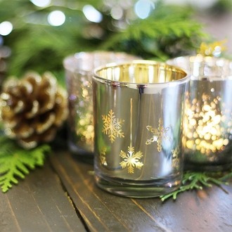 "Christmas Metallic Votive Candle Holder 2.85""H Silver and Gold Snowflakes"