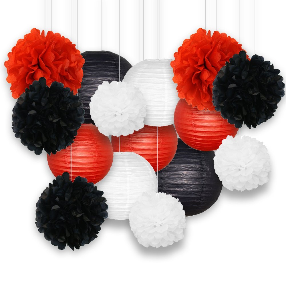 Decorative Paper Party Kit (15pcs Kit, Black/White/Reds Lanterns and Poms) - Premier