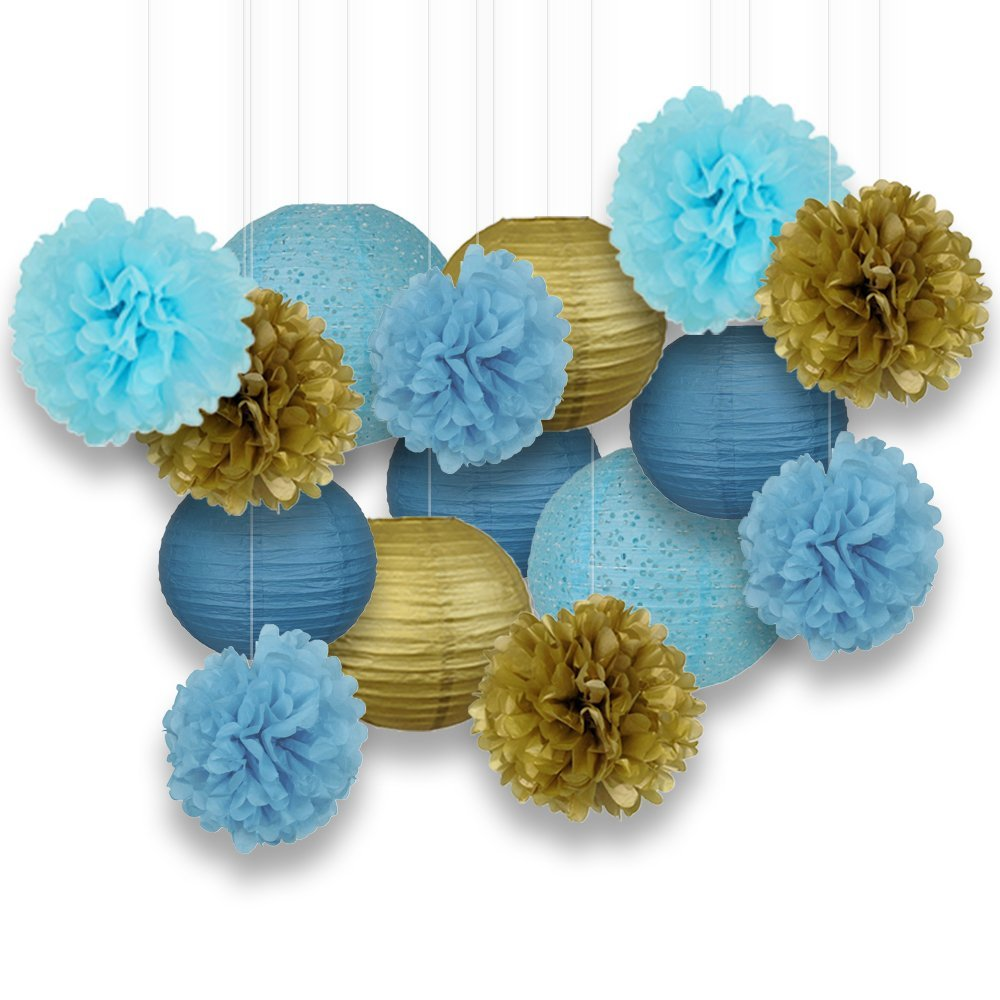 Decorative Paper Party Kit (15pcs Kit, Blues/Gold Lanterns and Poms)
