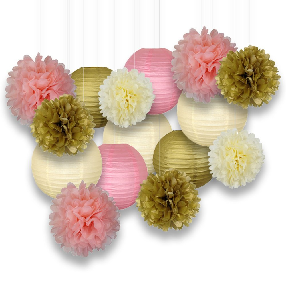 Decorative Paper Party Kit (15pcs Kit, Gold/Ivory/Pinks Lanterns and Poms)