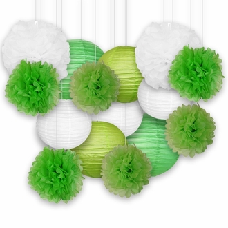 Decorative Paper Party Kit (15pcs Kit, Greens/White Lanterns and Poms)