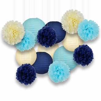 Decorative Paper Party Kit (15pcs Kit, Ivory/Blues Lanterns and Poms)