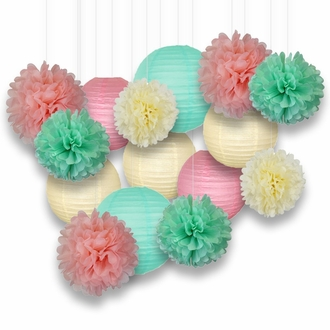 Decorative Paper Party Kit (15pcs Kit, Ivory/Green/Pink Lanterns and Poms)