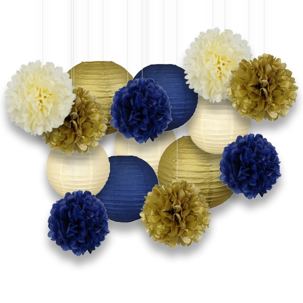 Decorative Paper Party Kit (15pcs Kit, Ivory/Navy/Gold Lanterns and Poms)
