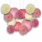 Decorative Paper Party Kit (15pcs Kit, Ivory/Pink Lanterns and Poms)