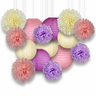 Decorative Paper Party Kit (15pcs Kit, Ivory/Pinks/Purple Lanterns and Poms)