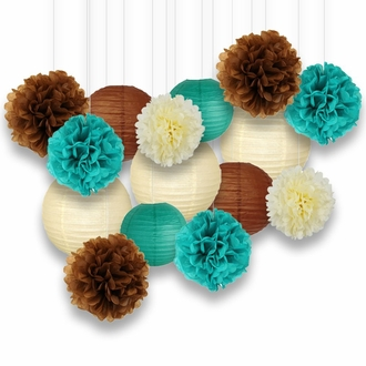 Decorative Paper Party Kit (15pcs Kit, Ivory/Teal/Browns Lanterns and Poms)