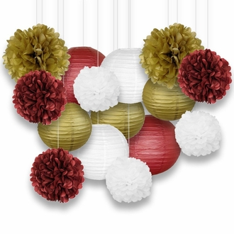 Decorative Paper Party Kit (15pcs Kit, Maroons/Gold/White Lanterns and Poms)