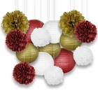 Decorative Paper Party Kit (15pcs Kit, Maroons/Gold/White Lanterns and Poms) - Premier