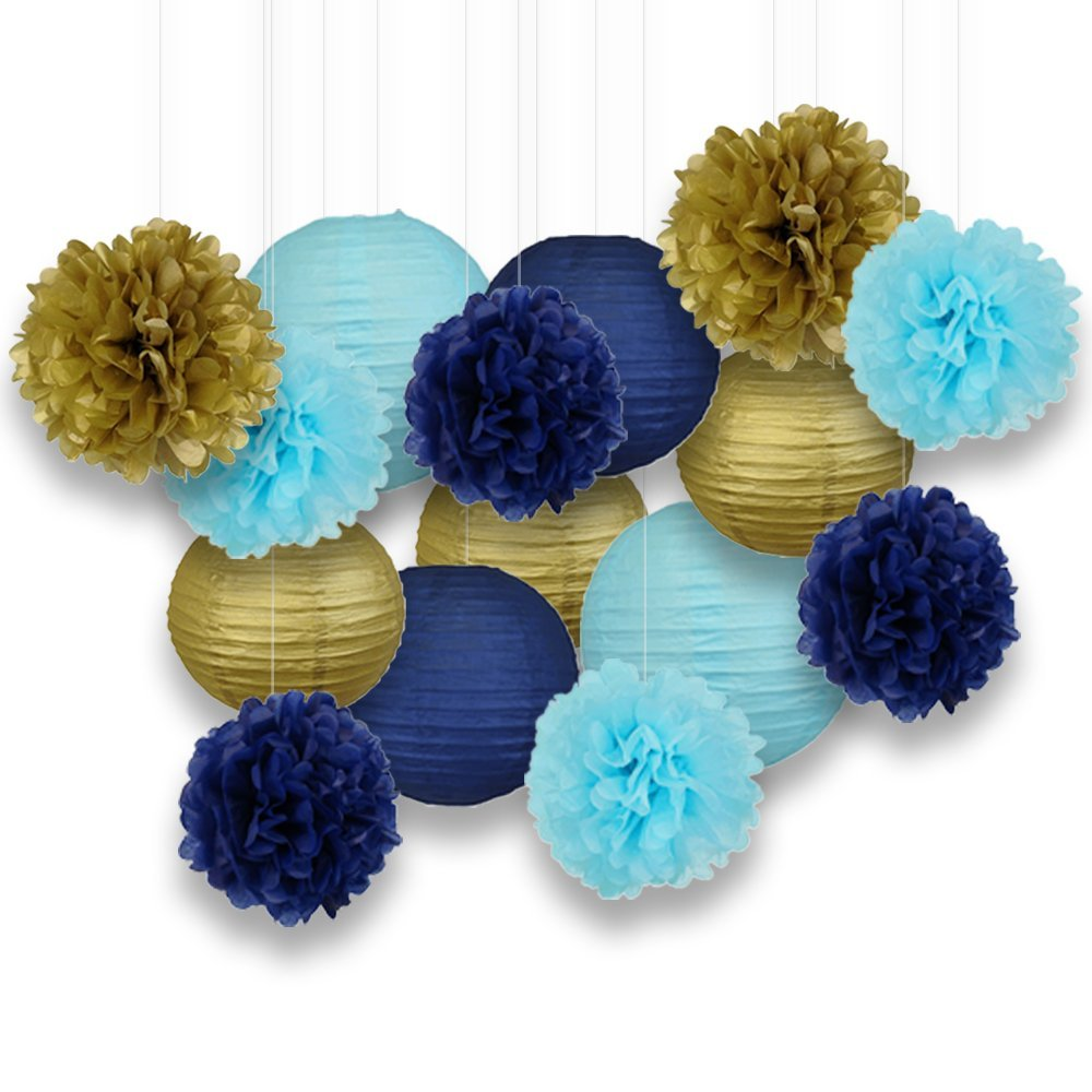 Decorative Paper Party Kit (15pcs Kit, Navy/Gold/Blues Lanterns and Poms)