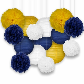 Decorative Paper Party Kit (15pcs Kit, Navy/Yellow/White Lanterns and Poms) - Premier