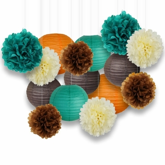 Decorative Paper Party Kit (15pcs Kit, Orange/Teal/Ivory/Browns Lanterns and Poms)