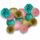 Decorative Paper Party Kit (15pcs Kit, Pinks/Teal/Gold Lanterns and Poms)