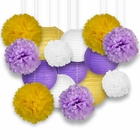Decorative Paper Party Kit (15pcs Kit, Purples/White/Yellow Lanterns and Poms)