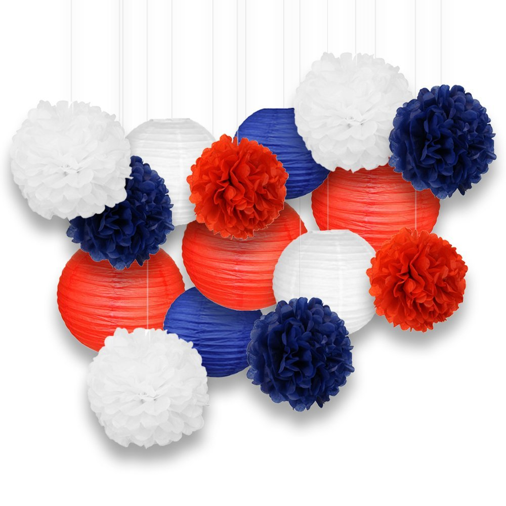 Decorative Paper Party Kit (15pcs Kit, Red/White/Blue Lanterns and Poms)