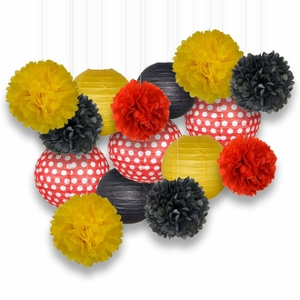 Decorative Paper Party Kit (15pcs Kit, Reds w Polka Dot/Yellow/Black Lanterns and Poms)