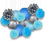 Decorative Paper Party Kit (15pcs Kit, Silver/Blues Lanterns and Poms)