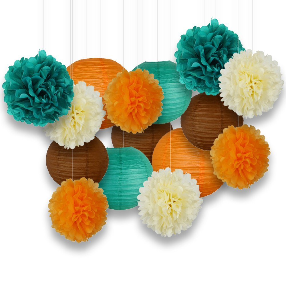 Decorative Paper Party Kit (15pcs Kit, Teal/Oranges/Brown/Ivory Lanterns and Poms) - Premier