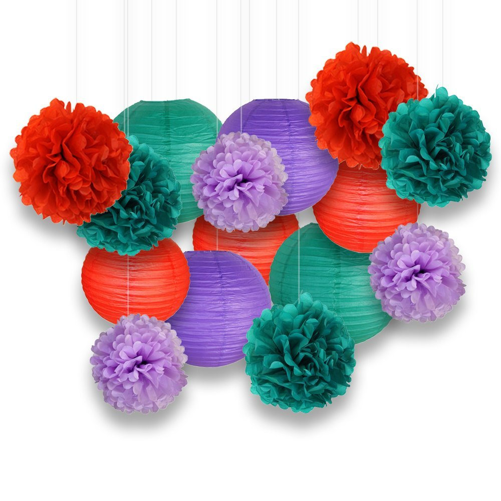 Decorative Paper Party Kit (15pcs Kit, Teal/Reds/Purples Lanterns and Poms)