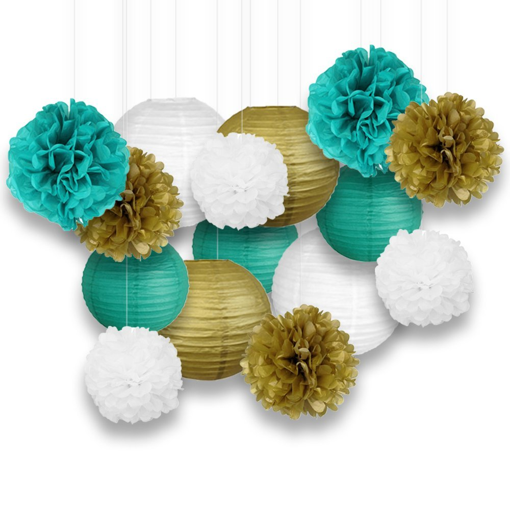 Decorative Paper Party Kit (15pcs Kit, Teal/White/Gold Lanterns and Poms)
