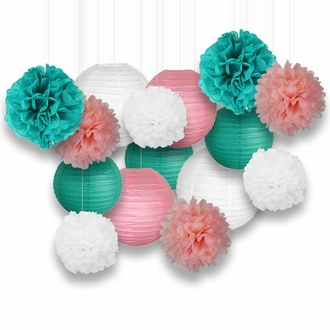 Decorative Paper Party Kit (15pcs Kit, Teal/White/Pinks Lanterns and Poms) - Premier