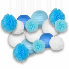 Decorative Paper Party Kit (15pcs Kit, White/Blues Lanterns and Poms)