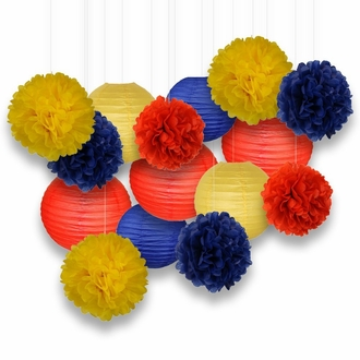 Decorative Paper Party Kit (15pcs Kit, Yellow/Blues/Reds Lanterns and Poms)